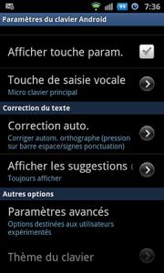 paramétrer l'usage du clavier sur Android 4.0 b