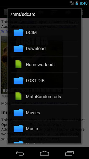 how to open odp file in android